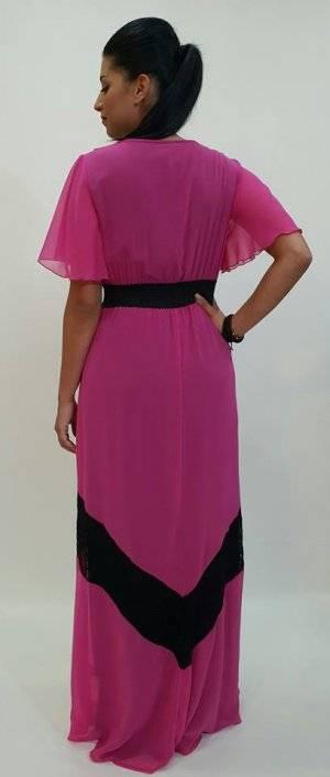 Φόρεμα μακρύ με βολάν και μανίκι