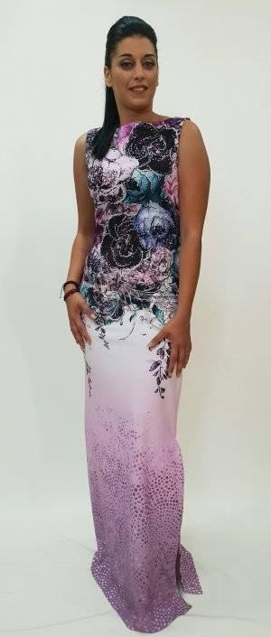 Φόρεμα μακρύ με print λουλούδια