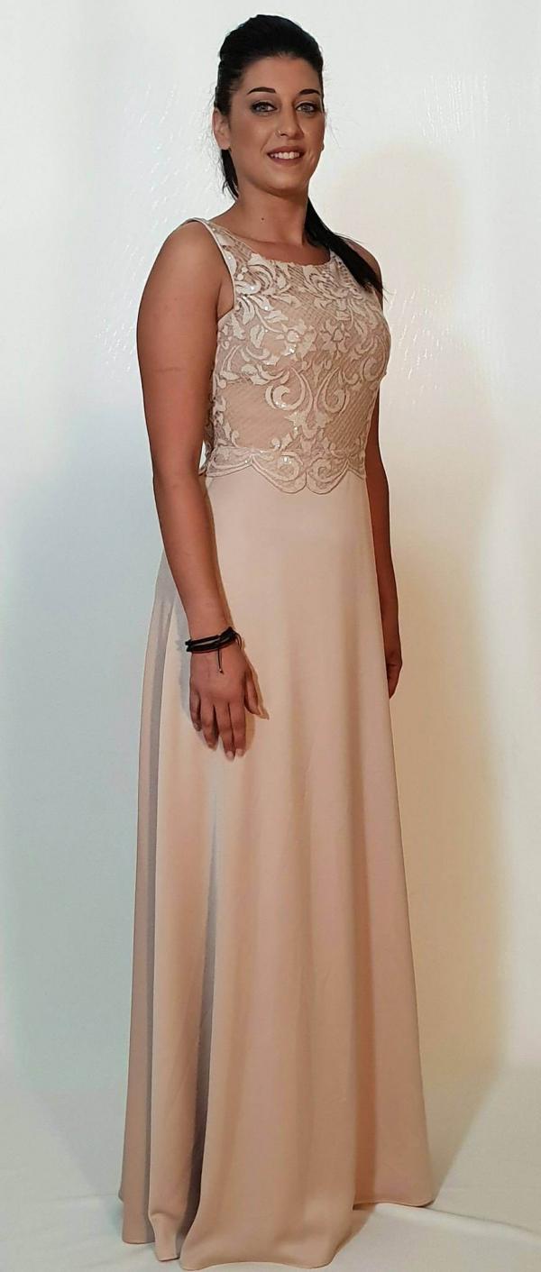 d709ce21f787 Φόρεμα μακρύ με μπούστο δαντέλα από παγιέτα - For ever Chania ...