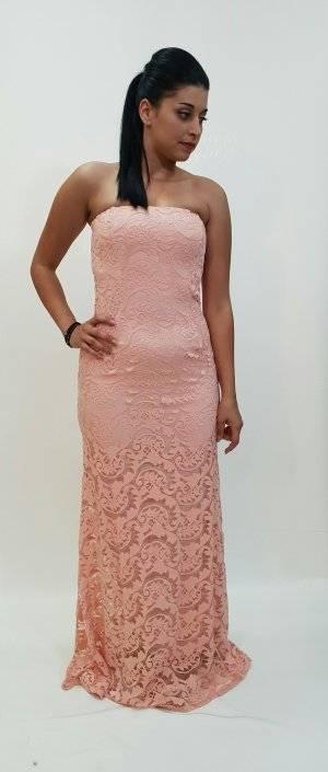 Φόρεμα στράπλες δαντέλα