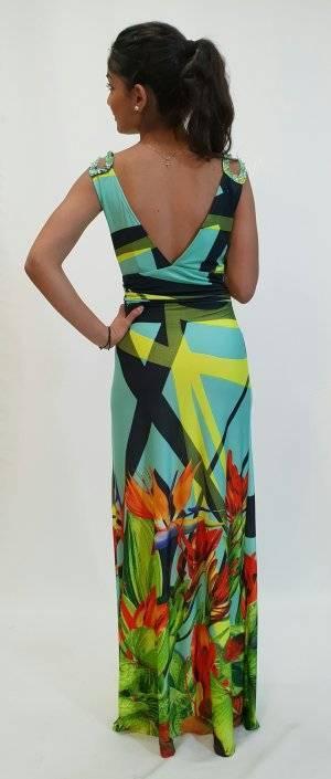 Φόρεμα μακρύ με στρας στη τιράντα