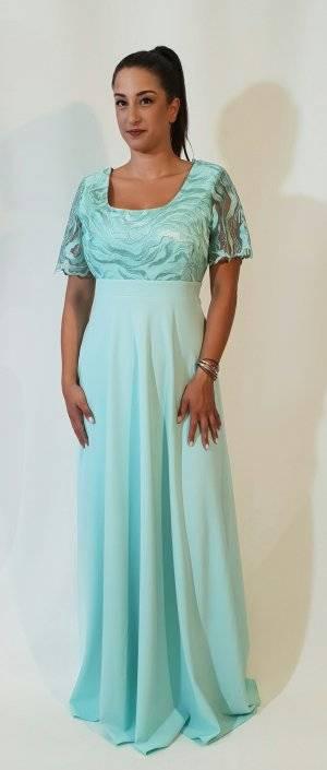 Φόρεμα μακρύ με δαντελωτό μπούστο