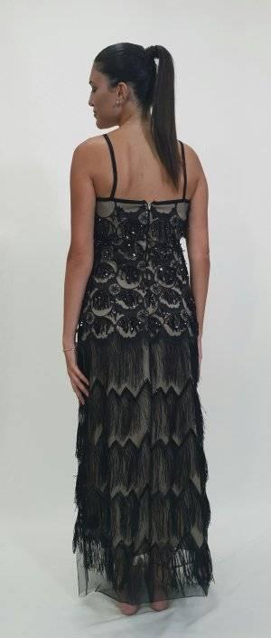 Φόρεμα μακρύ με κεντητή παγέτα και κρόσσια