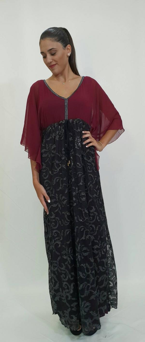 Φόρεμα μακρύ με εντυπωσιακή φούστα