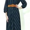 Φόρεμα μακρύ ριγέ με ζώνη