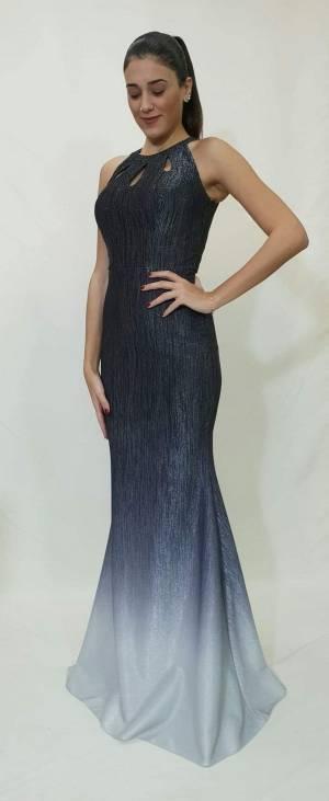 Φόρεμα μακρύ με εντυπωσιακό μπούστο με στρας