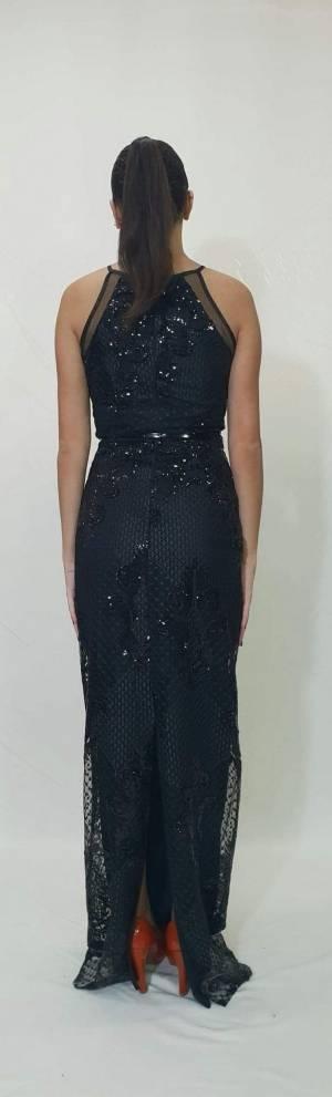 Φόρεμα μακρύ με δαντέλα και στρας