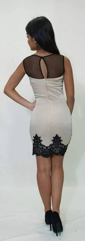 Φόρεμα στενή γραμμή με λεπτομέρειές δαντέλας