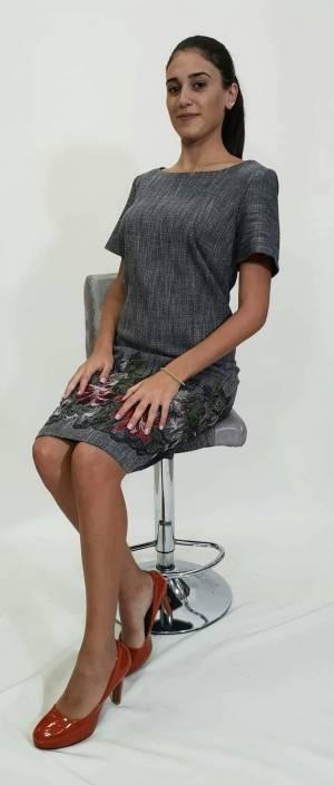 Φόρεμα κοντό μπροκάρ