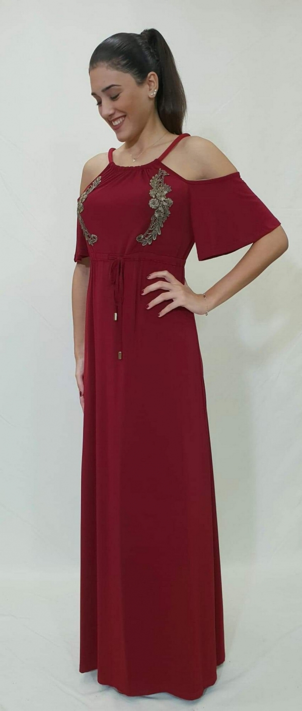 Φόρεμα ελαστικό με δαντέλα στο μπούστο