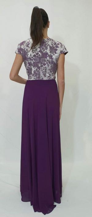 Φόρεμα μακρύ με μπούστο μπροκάρ