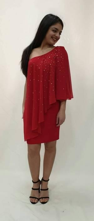 Φόρεμα κοντό με ένα ωμό και στρας