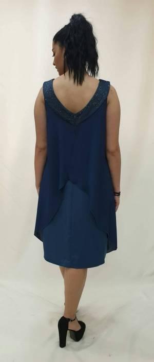 Φόρεμα κοντό με ασύμμετρη ζορζέτα