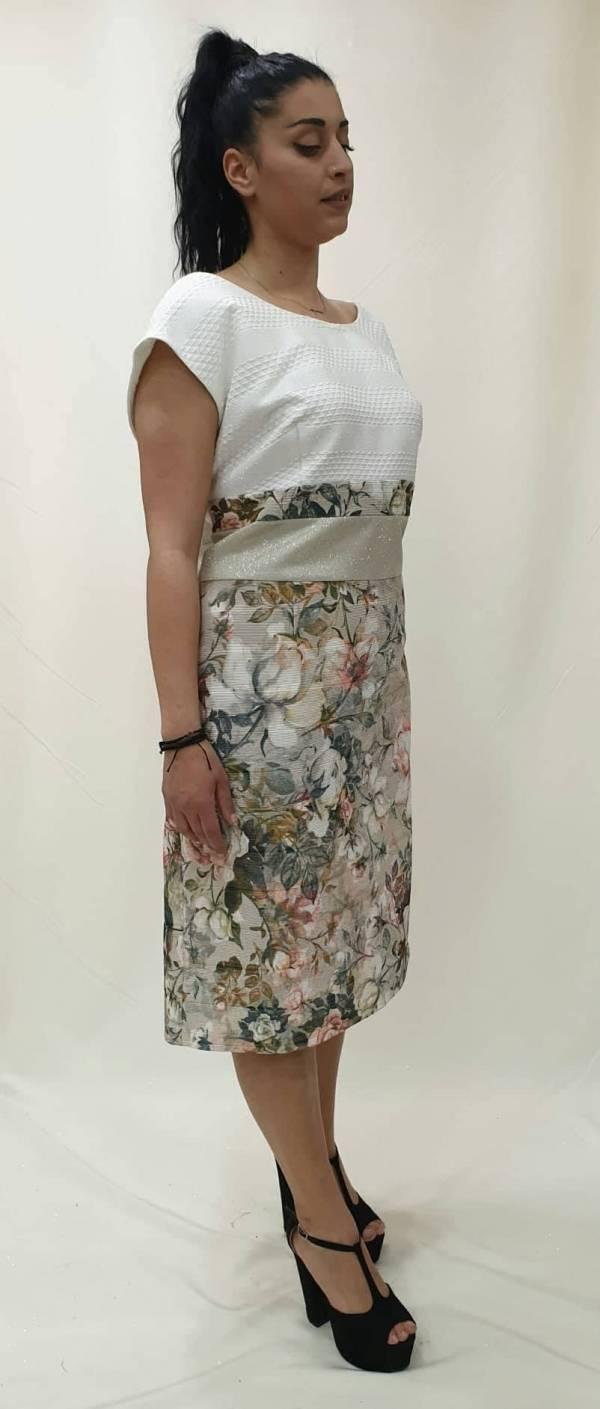 Φόρεμα κοντό με floral φούστα
