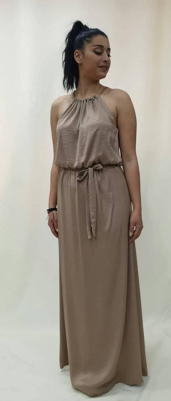 Φόρεμα μακρύ με παρτούς ώμους