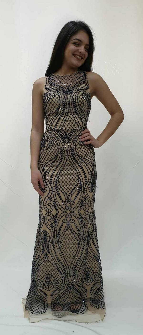 0db0aa63664 Φόρεμα δαντέλα με κεντητά στρας