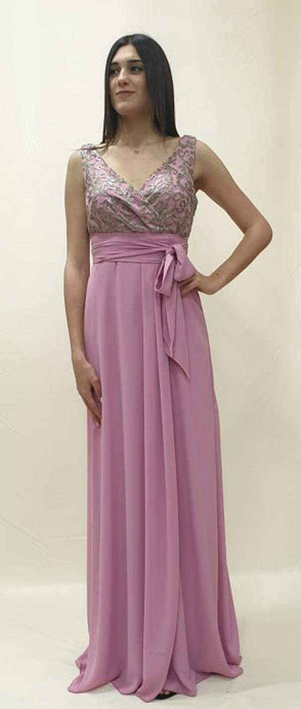 Φόρεμα μακρύ με κρουαζέ μπούστο