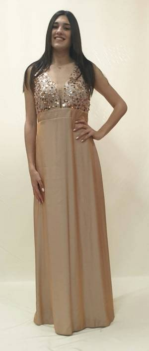Φόρεμα μακρύ με μπούστο παγέτα