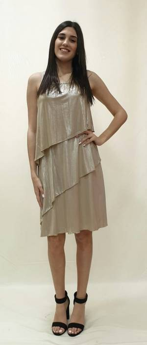 Φόρεμα βολάν lurex μεταλλικό
