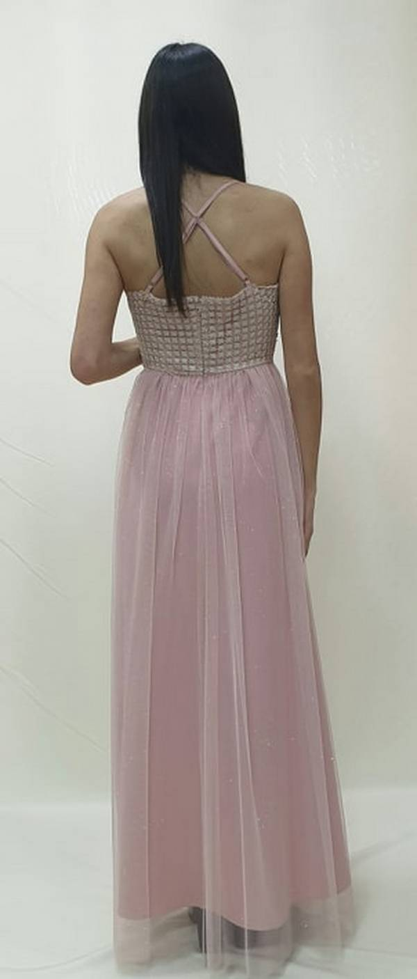 Φόρεμα μακρύ δαντέλα και τούλι