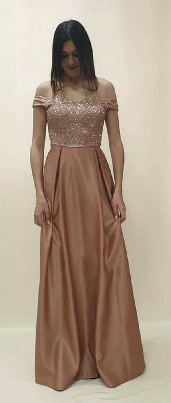 Φόρεμα μακρύ με  γυαλιστερό μπούστο