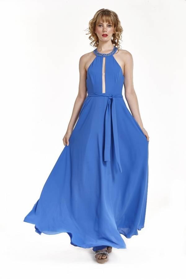 Φόρεμα με παρτούς ώμους και στας στο λαιμό