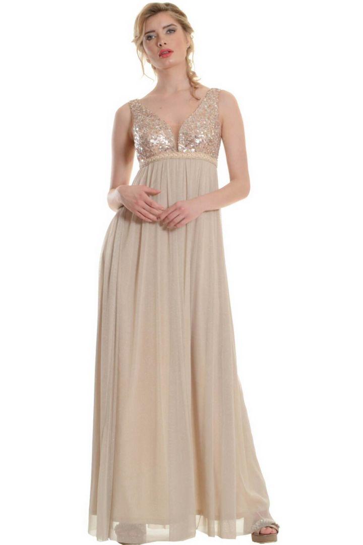 Φόρεμα μακρύ με μπούστο από στρας