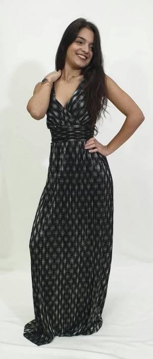 Φόρεμα πλισέ με V πλάτη