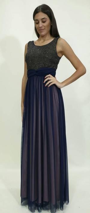 Φόρεμα μακρύ με μπούστο glitter