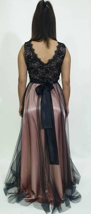 Φόρεμα μακρύ με δαντέλα μπούστο