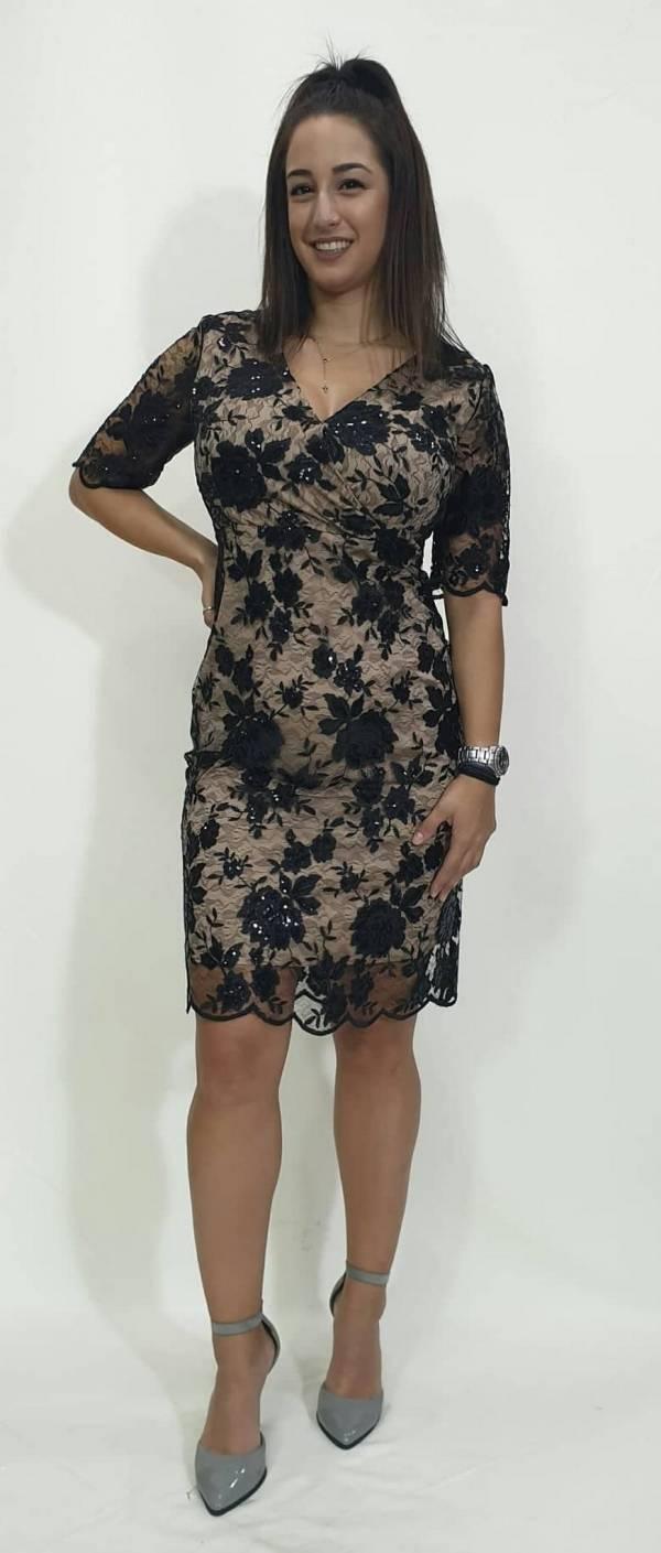 Φόρεμα κοντό δαντέλα με στρας