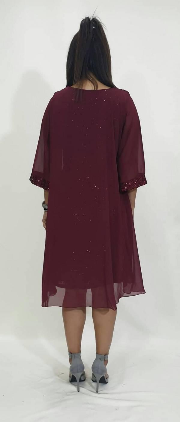 Φόρεμα όλοι ελαστική παγέτα με ζορζέτα
