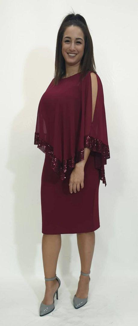 Φόρεμα κοντό με αέρινη ζορζέτα