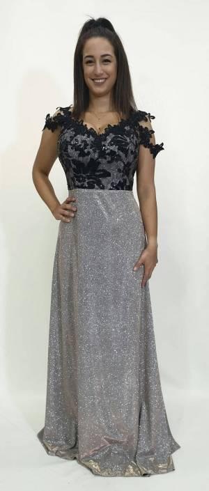 Φόρεμα μακρύ με εντυπωσιακό μπούστο